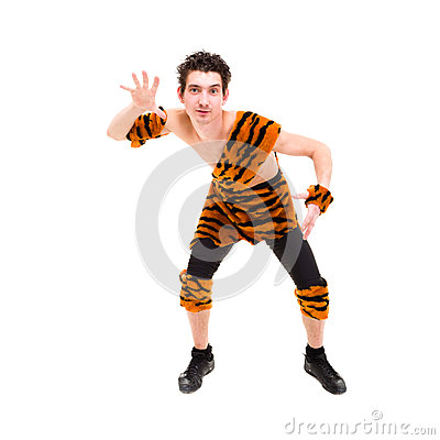 Wild man wearing a tiger skin