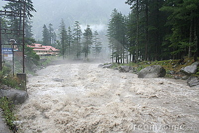 Wild Raging himalayan river Torrent Manali India