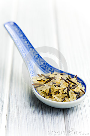 Wild rice in ceramic spoon