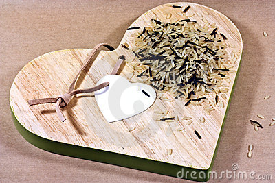 rice on heart shaped board