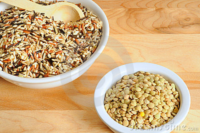 Wild rice and lentils