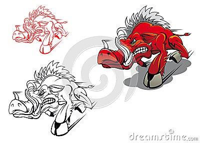 Wild running boar