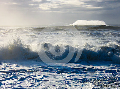 Wild sea with crashing waves