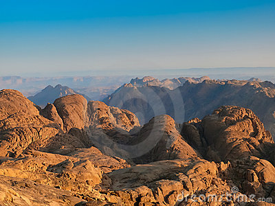 Wild Sinai mountains. On the top of Mount of Moses