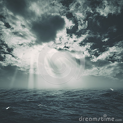 Wild storm on the sea