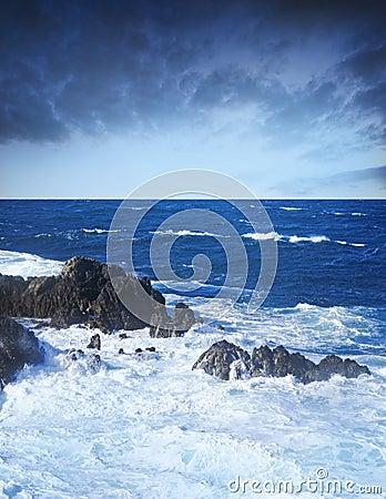 Wild stormy ocean