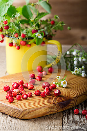Free Wild Strawberries In Yellow Mug  In Retro Style Royalty Free Stock Images - 75311739