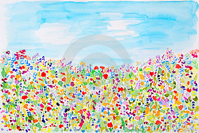 Wild summer flowers watercolor