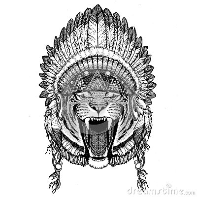 Wild tiger Hand drawn illustration for tattoo, emblem, badge, lo Stock Photo