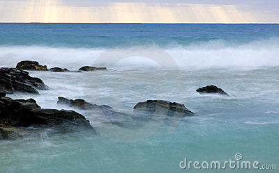Wild waves, stormy weather and rocks, Australian c