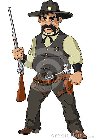 wild west cartoon sheriff royalty free stock images