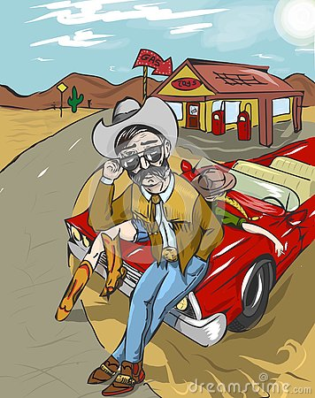 Wild west cowboy's trip art Stock Photo