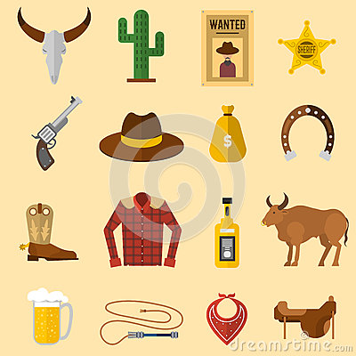 Free Wild West Cowboy Icons Vector Illustration Stock Photo - 81802410