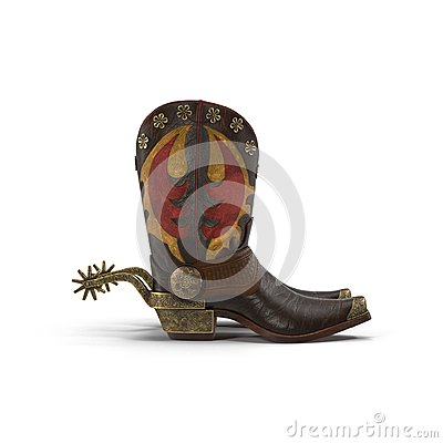 Western Cowboy Boots And Silver Spurs Stock Photo - Image: 71481064