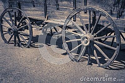 Wild west old wagon wooden wheels