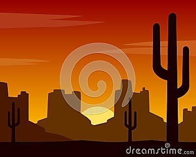Wild West Sunset Background