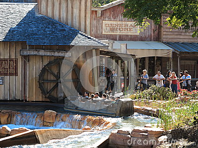 Log flume ride wild west scenery Editorial Stock Image