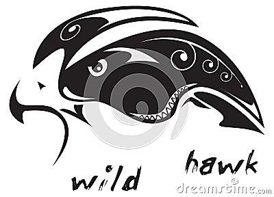 Wilder Falke der Stammes- Tätowierung