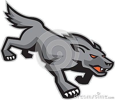 Wilder Hund Wolf Stalking Retro