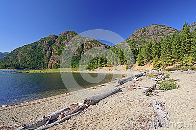 Wilderness beach on a mountain Lake