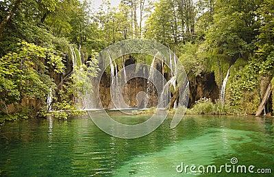 Wilderness landscape with beautiful waterfalls