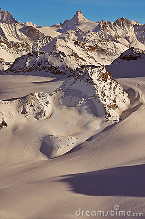 Wilderness skiing in the Swiss Alps