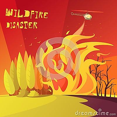 Wildfire Disaster Illustration Vector Illustration