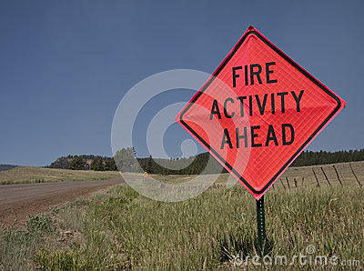 Wildfire road sign