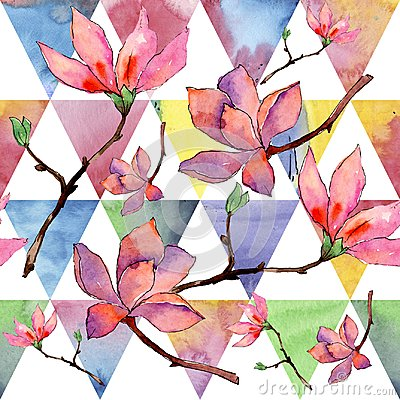 Free Wildflower Magnolia Flower Pattern In A Watercolor Style. Royalty Free Stock Photos - 112434348