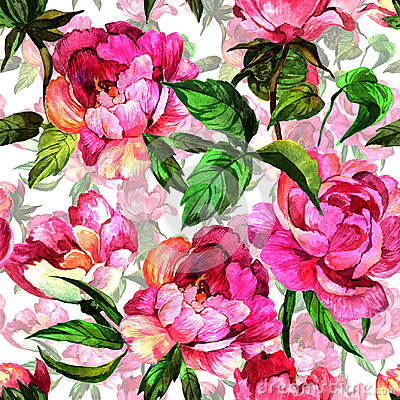 Free Wildflower Peony Flower In Pattern A Watercolor Style. Royalty Free Stock Photos - 95600068