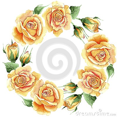Free Wildflower Yellow Tea-hybrid Roses Flower Wreath In A Watercolor Style. Royalty Free Stock Image - 110209266