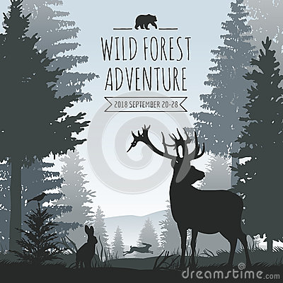 Free Wildlife Foggy Coniferous Forest Vector Background With Pines Trees And Animals Silhouettes Stock Photos - 90013383