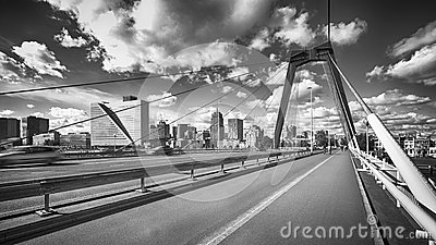 Wilemsbrug Bridge and Central Rotterdam