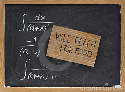 Will teach for food - cardboard sign on blackboard
