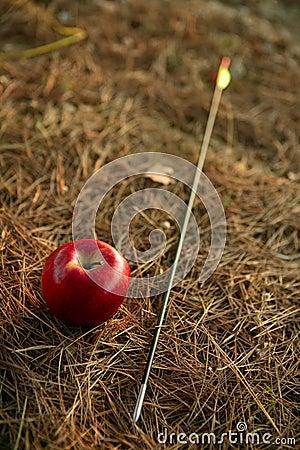William indiquent la métaphore avec la pomme et la flèche rouges