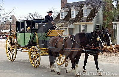 Williamsburg, VA: Coachman, Horses and Coach Editorial Photography