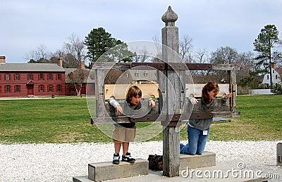 Williamsburg, VA: Kids in Stocks Editorial Stock Photo