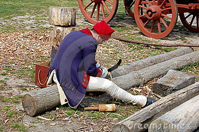 Williamsburg, Virginia: Woodcarver at Work Editorial Stock Image