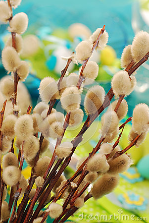 Willow branches as easter decoration