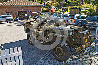Willys jeep 1945, with machine guns Editorial Stock Photo