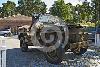 Willys jeep 1945, with machine guns Editorial Stock Image