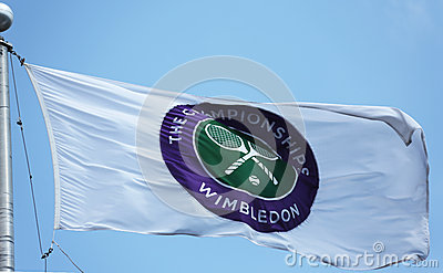 The Wimbledon championship flag at Billie Jean King National Tennis Center during  US Open 2013 Editorial Photo