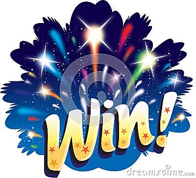 Win! Van de het vuurwerkviering van de pret grafisch het pictogramontwerp