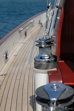 Winch of sailboat