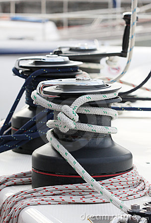Winches on a sailing boat.