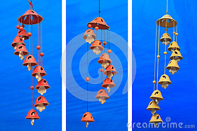 Wind Chimes on blue background