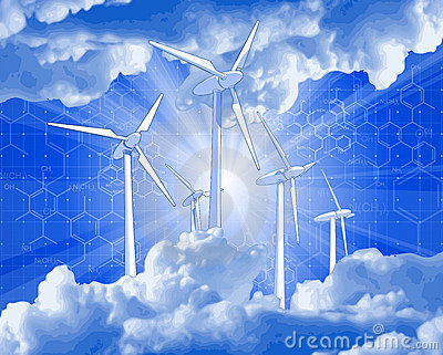 Wind-driven generators, rays of light & blue sky