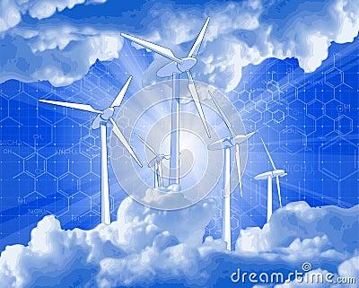 Wind-driven generators, rays of light & blue sky