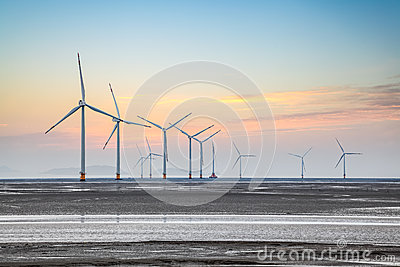 Wind farm in coastal mud flat