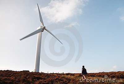 Wind farm and hiker